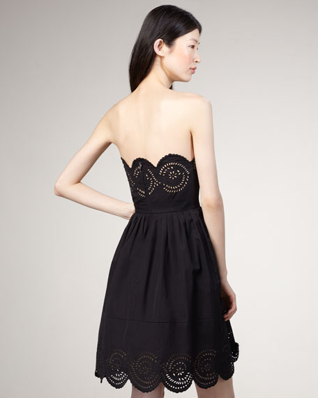 Palmetto Eyelet Dress, Black