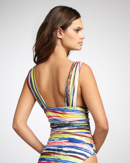 Striped Deep-V One-Piece Swimsuit