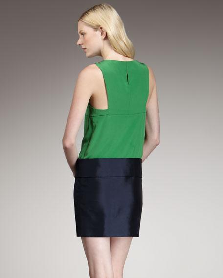 Eames Silk Colorblock Dress, Green