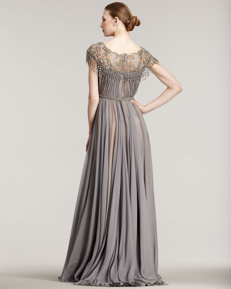 Illusion-Neck Full-Skirt Gown