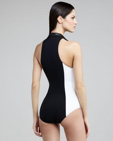 Daphne Colorblock Zip-Up One-Piece Swimsuit