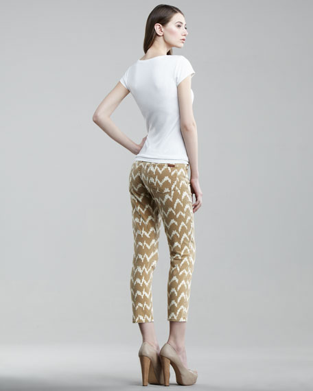 Ikat-Print Cropped Skinny Jeans