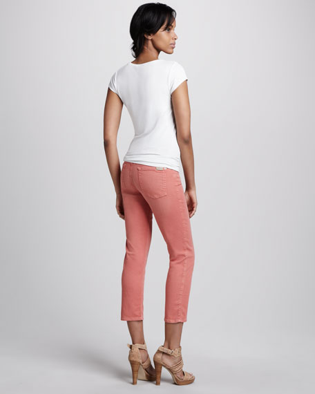 Cropped Skinny Twill Pants, Coral