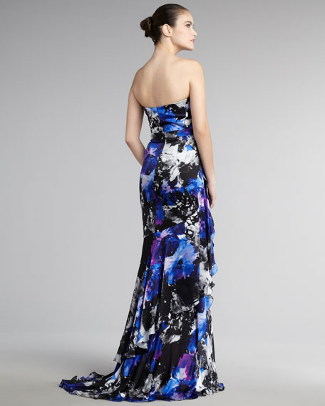 Printed Ruffle-Front Gown