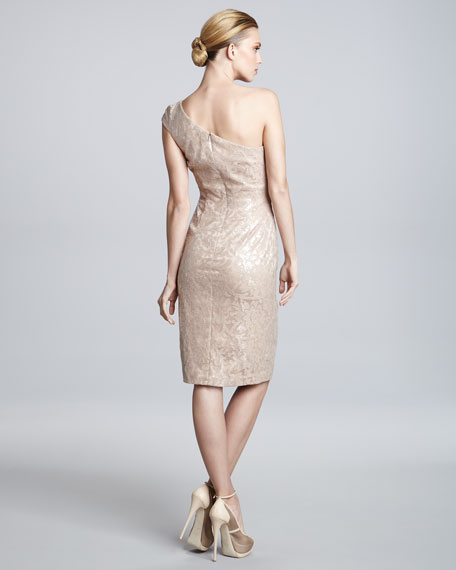 One-Shoulder Jacquard Dress