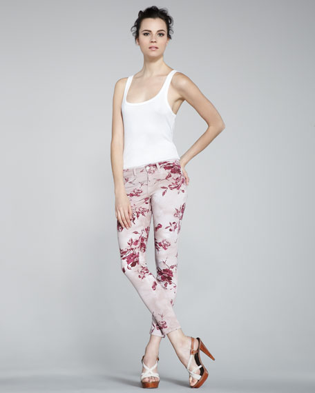 835 Mid-Rise Skinny Floral-Print Jeans