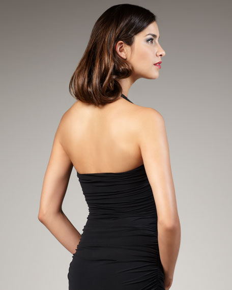 Ruched Swimdress, Black