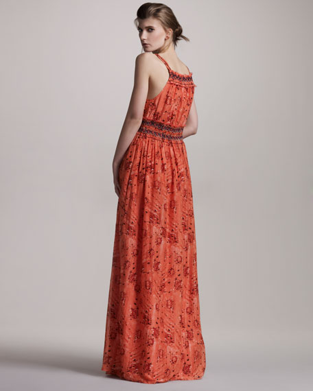 Beaded Cotton-Silk Maxi Dress