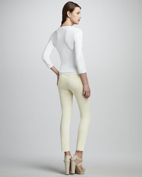 Luxe Twill Slim Pants, Lemon Custard
