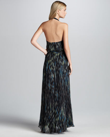 Printed Waterfall Gown