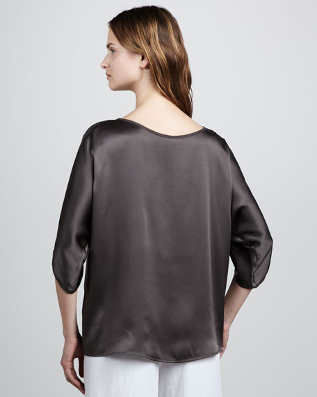 Boxy Satin Blouse, Fudge