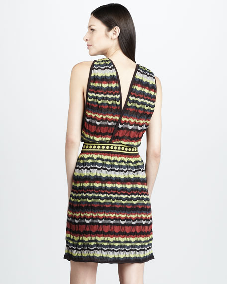 Pattern-Stripe Surplice Dress