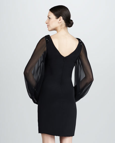 Cocktail Dress with Chiffon Sleeves