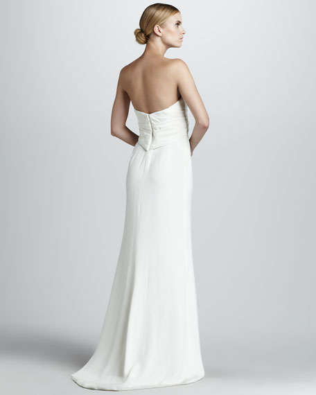 Bead-Bodice Strapless Gown
