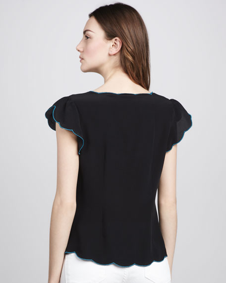 Laurel Canyon Embroidered Top, Black