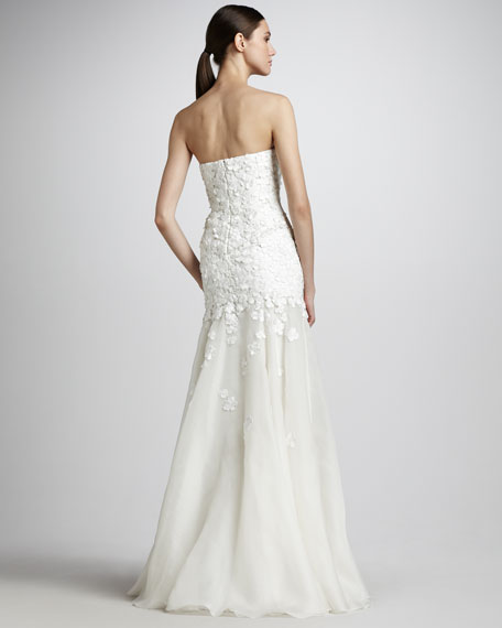 Floral-Applique Strapless Gown