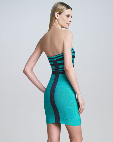 Striped Strapless Bandage Dress