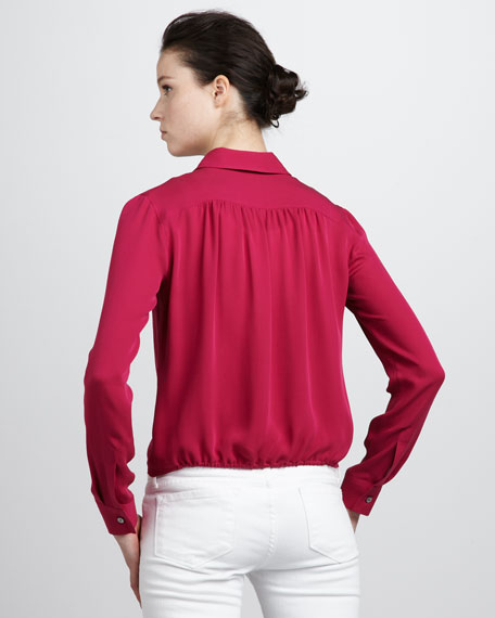 Cropped Button-Down Blouse