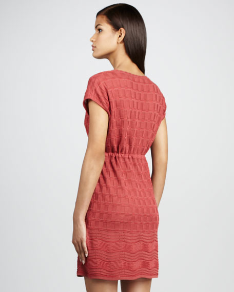 Knit Patterned Drawstring Dress
