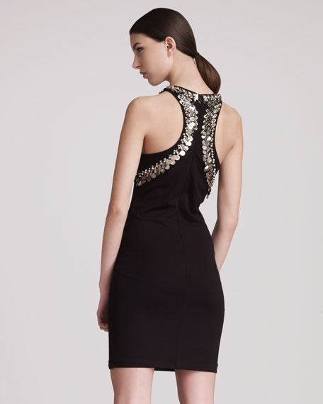 BG 111th Anniversary Pin-Trimmed Racerback Sheath Dress