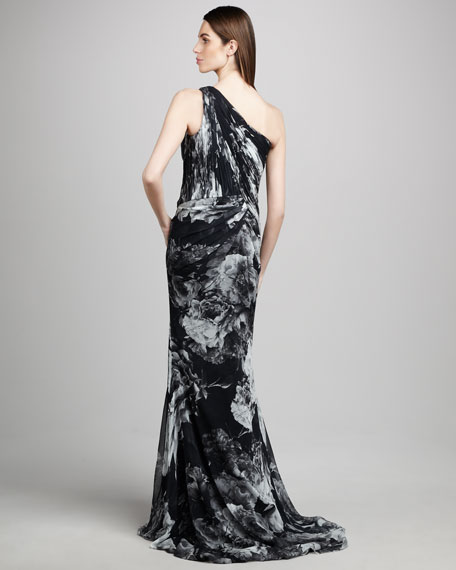 One-Shoulder Rose Print Gown
