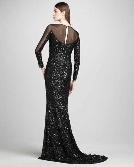 Sheer-Sleeve Sequin Gown