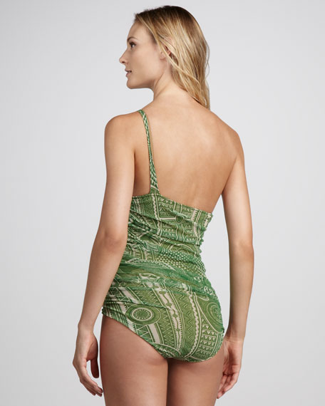 Printed One-Shoulder One-Piece