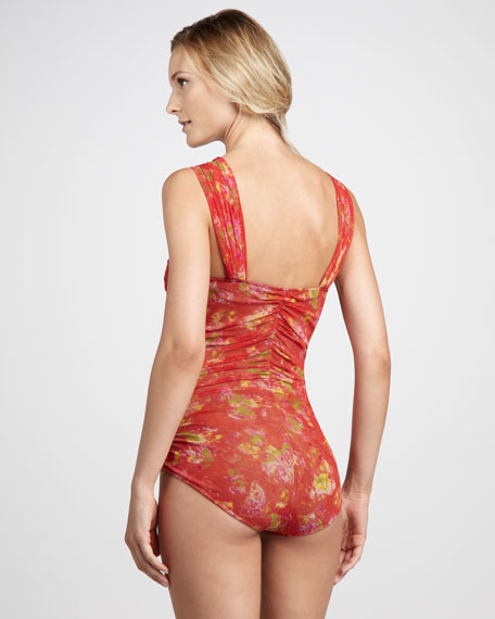 Ruched Floral-Print One-Piece