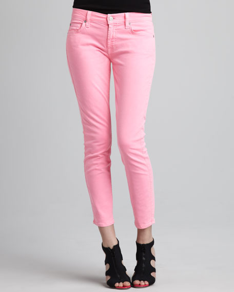 Cropped Skinny Jeans, Neon Pink