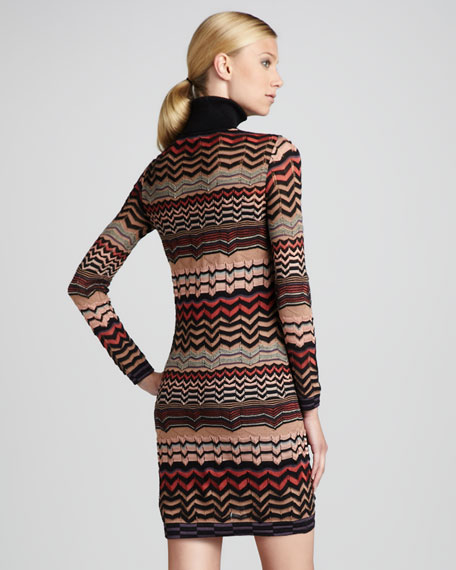 Small-Zigzag Turtleneck Dress