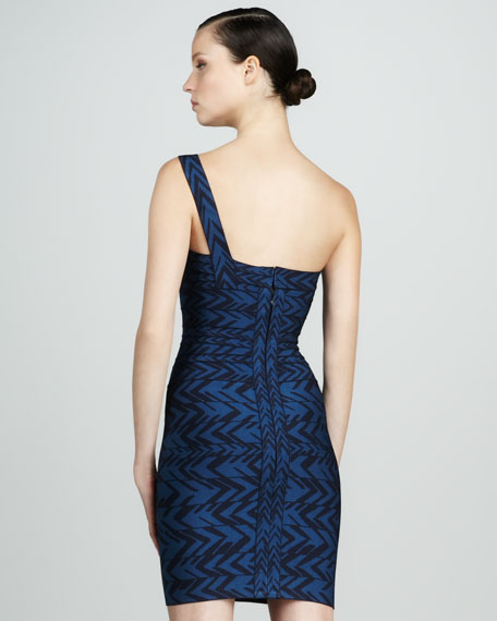 Printed One-Shoulder Bandage Dress
