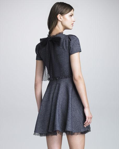 Point d'Esprit Trimmed Tweed Dress