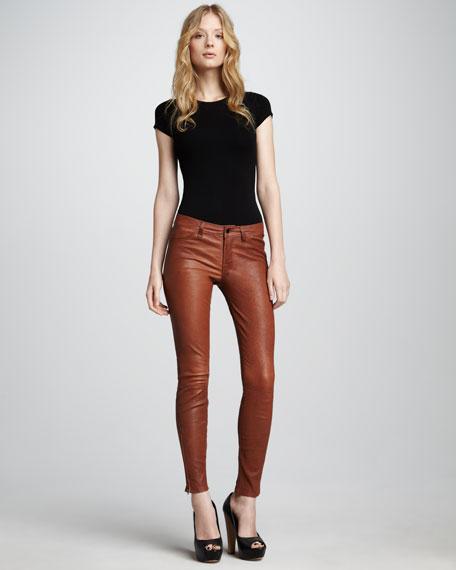 L8001 Cognac Leather Super Skinny Pants