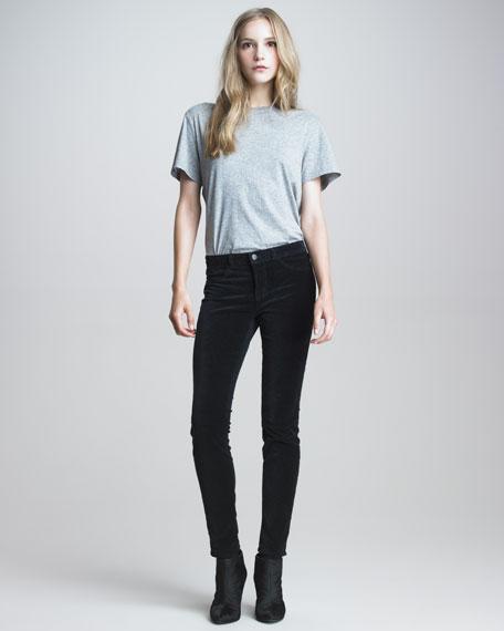 801 Charcoal Velvet Skinny Jeans
