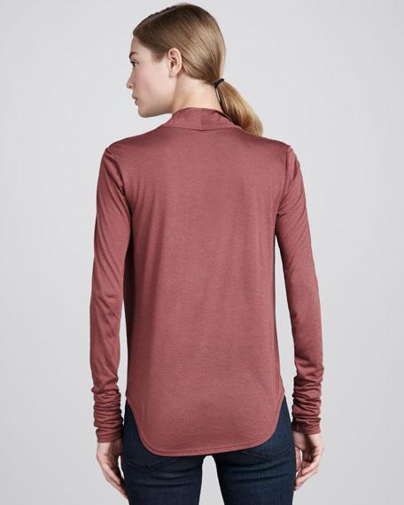 Cowl-Neck Jersey Top, Garnet