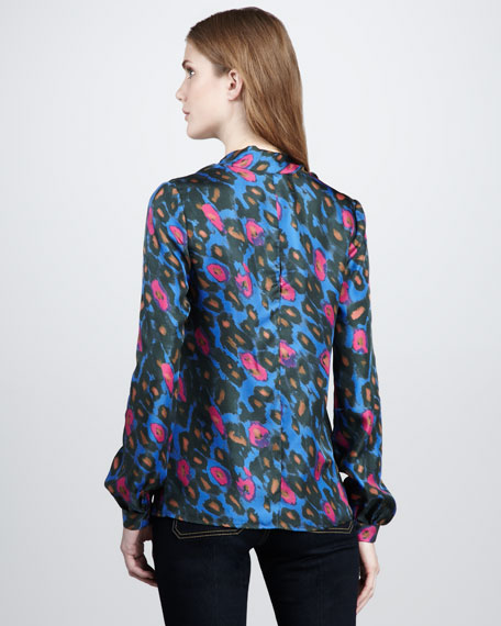 Nathalie Leopard-Print Scarf Top