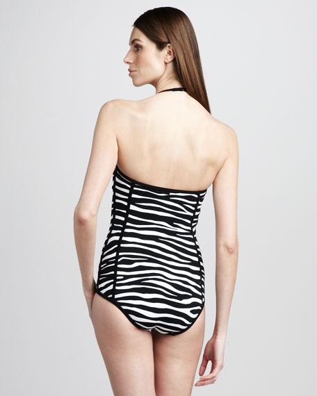 Zebra-Print Retro One-Piece