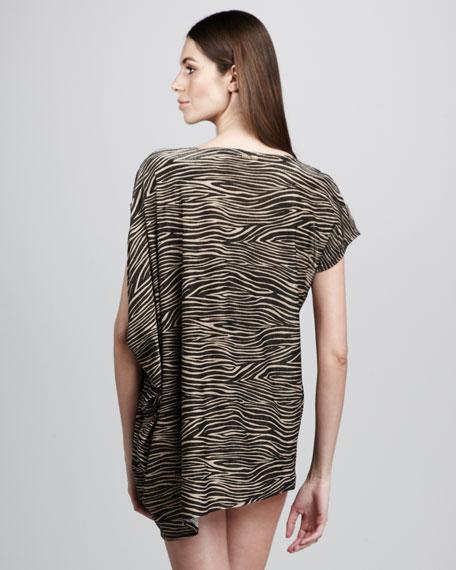 Asymmetric Zebra-Print Coverup