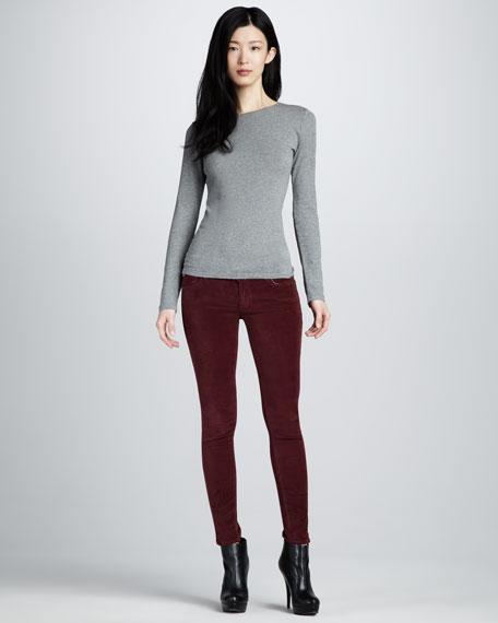 Krista Bordeaux Velvet Super Skinny Jeans