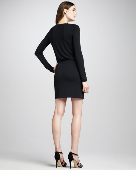 Side-Knot Jersey Dress, Black