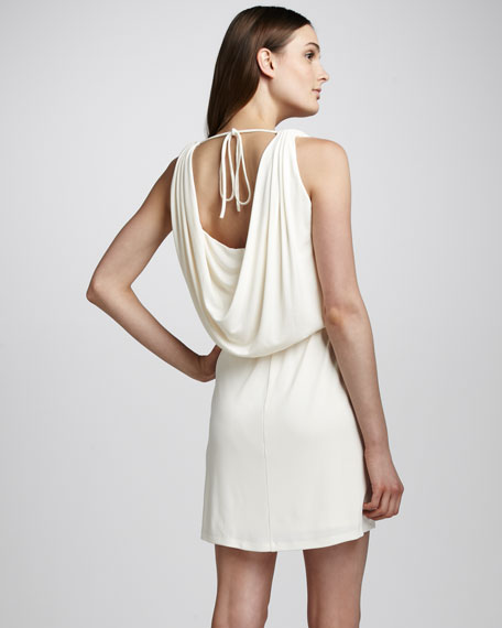 Draped Jersey Dress, Chalk