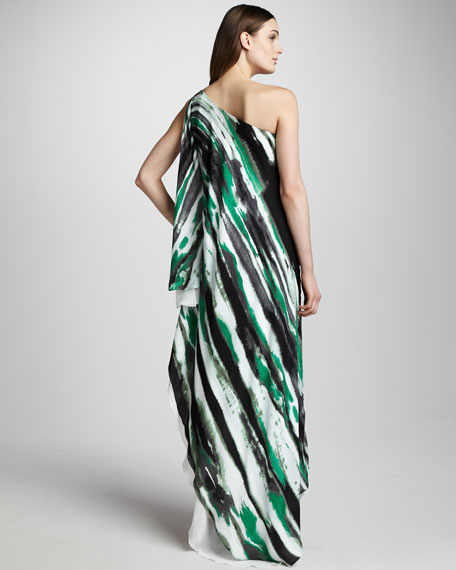 Printed One-Shoulder Gown, Watercolor
