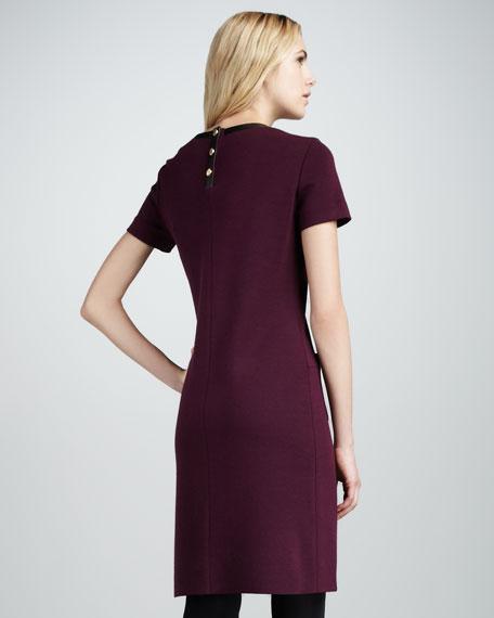 Wool-Trim Dress, Plum