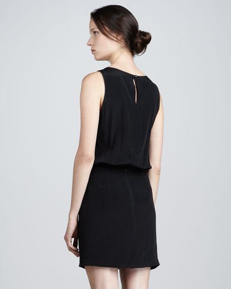 Print-Front Silk Blouson Dress