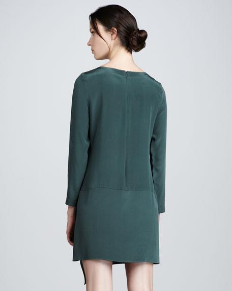 Long-Sleeve Silk Shift Dress