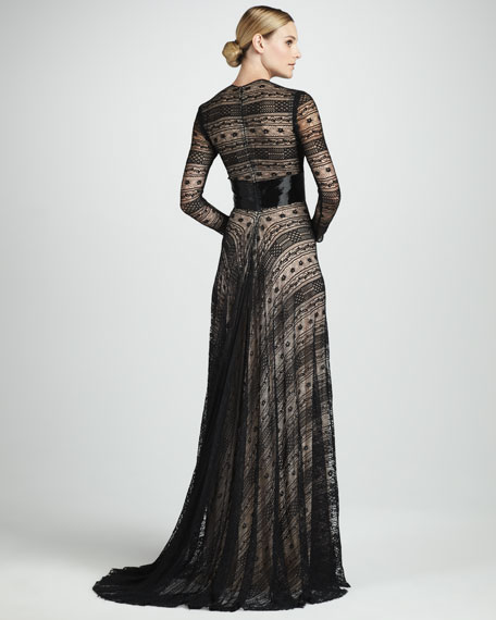 Geometric-Print Gown