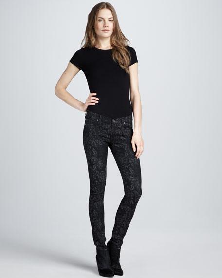 Skinny Jacquard Jeans, Black/Gray