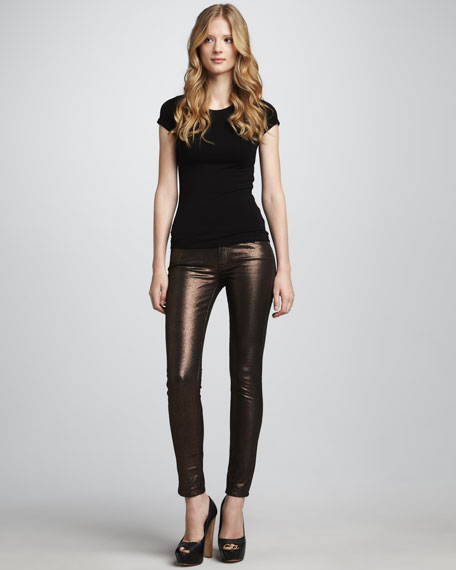 The Skinny Copper Liquid Metallic Jeans
