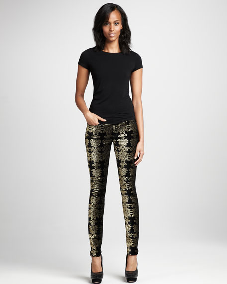 Metallic Chinoiserie Jeans, Black/Gold