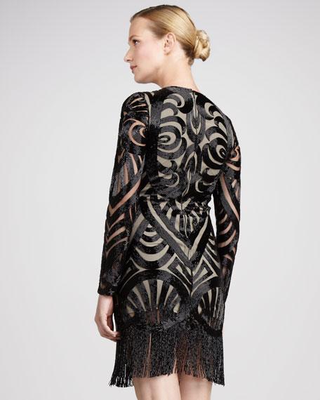 Beaded Long-Sleeve Cocktail Dress